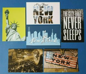 Collection of 6 New Glossy New York City NYC USA Postcards by Cavalier BW9