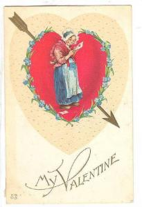 Valentine Greetings, Old Woman Reading A Valentine Greeting Card, My Valenti...