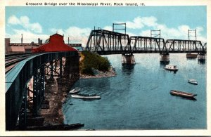 Illinois Rock Island Crescent Bridge Over Mississippi River