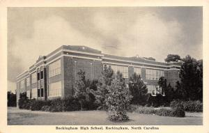 Rockingham North Carolina~High School~Side View~1940s B&W Postcard