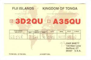 QSL Radio Card, Fiji & Tonga, 40-60s