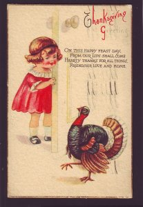 P1608 1926 used thanksgiving young girl, turkey this happy feast day postcard
