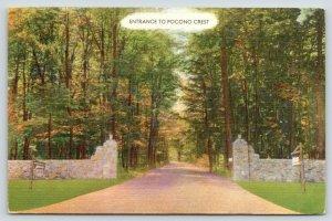Pocono Pines Pennsylvania~Pocono Crest Estate~Resort Entrance~1955 Linen