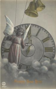 New Year~Angel Girl in Clouds~Midnight Clock~Colorized Real Photo Series~1093/1