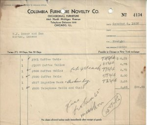 Columbia Furniture Novelty Co., Chicago, Ill. Vintage October 6, 1932 Invoice