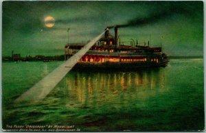 1910s IOWA Postcard The Ferry DAVENPORT by Moonlight Spotlight / Full Moon