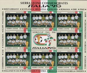 England Football World Cup Italia 1990 Rare Full Sheet Block Of Limited Editi...