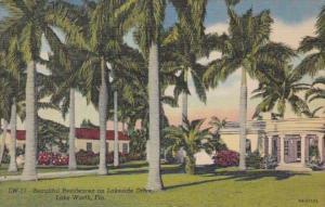 Florida Lake Worth Beautiful Residences On Lakeside Drive 1956 Curteich