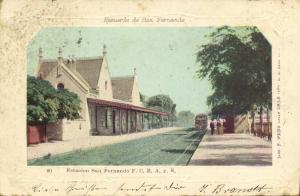argentina, SAN FERNANDO, Estacion F.C.B.A. y R., Railway Station, Train (1903)