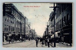 Mansfield OH, North Main Street, Scott Piano Store, Vintage Ohio c1907 Postcard