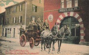 Providence RI Fire Department Hose Company #17 Horse & Fire Wagons Postcard