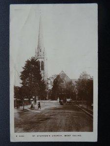 London WEST EALING St. Stephen's Church c1911 RP Postcard by KIngsway