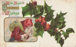 CHRISTMAS; Santa Claus carrying toy sack, holly, 1923