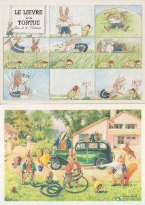 Rabbits Bicycles The Rabbit & The Hare French Comic 2x Postcard s