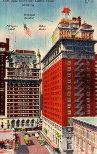 Texas Dallas Downtown Hotel Row Adolphus Hotel Baker Hotel and Magnolia Build...