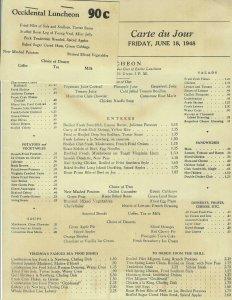 MK-071 Washington DC Occidental Luncheon Menu June 18, 1948 Restaurant Vintage