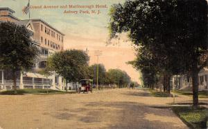 Asbury Park New Jersey~Grand Avenue~Marlborough Hotel~Vintage Car~Houses~1908 PC