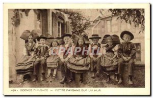 Old Postcard Scenes D Alsace Small Peasants On A Wall Folklore Costume