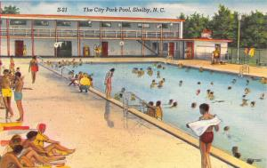 Shelby North Carolina~City Park Pool~Boy Drying Off~People Swimming~1940s Pc