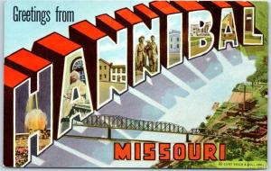 1940s HANNIBAL Missouri Large Letter Postcard w/ Mark Twain Curteich Linen
