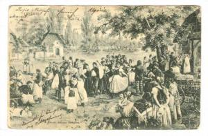 Village dancing and celebrating, Csardas, Hungary, PU-1907