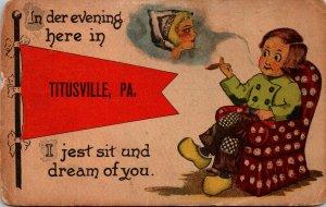 Pennsylvania Titusville Dutch Boy Smoking Cigar 1914 Pennant Series
