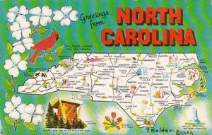Greetings From North Carolina With Map 1959