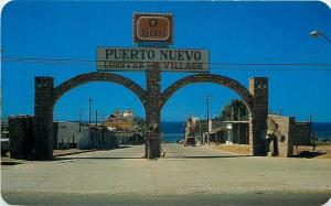 Puerto Nuevo Mexico~Entrance To Restaurant Center~Lobster Village~1950s Postcard