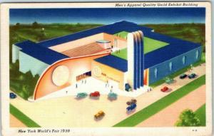 1939 New York World's Fair Postcard Men's Apparel Quality Guild Bldg Linen