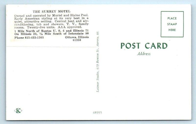 OTTAWA, Illinois IL ~ Roadside THE SURREY MOTEL LaSalle County c1960s Postcard