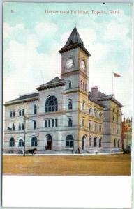 Topeka, Kansas Postcard Government Building Street View c1910s Unused