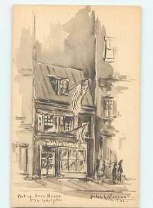 Unused 1930 ARTIST SIGNED BETSY ROSS HOUSE Philadelphia Pennsylvania PA W3959