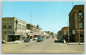 Miles City MT~Main Street~Foster Drug Store~Neon Art Deco Sign~Log Cabin~1950s