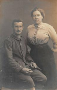 WW1 GERMAN SOLDIER POSING WITH WIFE PHOTO POSTCARD