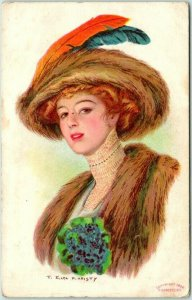 Vintage 1909 Artist-Signed F. EARL CHRISTY Postcard Pretty Lady Fur Hat & Stole