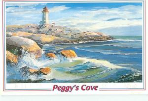 Peggys Cove Lighthouse Beach coast waves  Postcard  # 6141