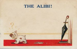 COMIC, 1900-10s; THE ALIBI! Puppy looking back at puddle and umbrella