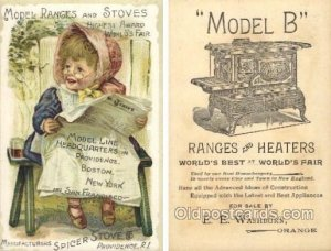 Model Ranges & Stoves, Spicer Stoves, Providence, RI USA Trade Card Approx Si...