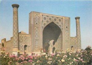 Postcard Uzbekistan Samarkand flowers architecture towers