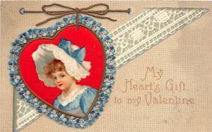 A52/ Valentine's Day Love Holiday Postcard 1909 Kansas City Heart Girl 8