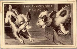 Anxious for a Meeting, Dogs Running Jumping Comic c1912 Vintage Postcard M21