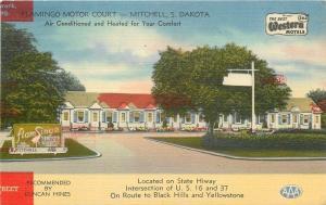 Mitchell South Dakota~Flamingo Motor Court~Bird on Sign~1952 Linen Postcard