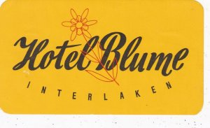 Switzerland Interlaken Hotel Blume Vintage Luggage Label sk4283