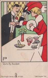 Cafe Couples Quite By Accident Romantic Meeting Holding Hands Old Comic Postcard