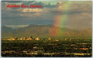 Phoenix, Arizona Postcard Bird's-Eye Panoramic View w/ RAINBOW c1960s Unused