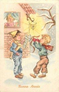 Postcard drawings bonne annee children singing