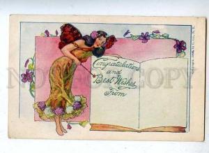 185494 ART NOUVEAU Winged FAIRY Vintage 1906 year U.Co. PC