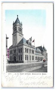 Postcard US Post Office, Worcester, MA 1906 B17