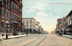 Waterloo Iowa~Trolley Tracks Down Commercial Street~Drug Co~1910 PC