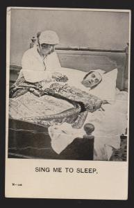 Comic Postcard - Man & Woman In Bed - Sing Me To Sleep - Used 1907 Large Creases